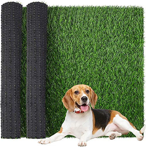 Ruisita 2 Pack Artificial Turf Dog Grass Pee Pads 14 x 18 Inch Portable Pet Grass Pee Pads Replacement Grass Turf Mat for Puppy Potty Training Area, Indoor Outdoor Porches Apartments Patio Lawn Decor
