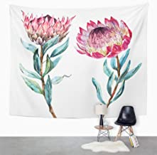Eriesy Tapices Tapiz Tapestry Wall Hanging Colorful Vintage Watercolor Drawing Exotic Flower Protea Australia Pink Banksia Wall Hanging for Bedroom Living Room Dorm 130x150cm