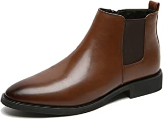 FUNPLUS Bottes Chelsea pour Hommes en Cuir Souple Chaussures Formelles sans Lacet Bottines Mode Automne Hiver Homme Bout P...
