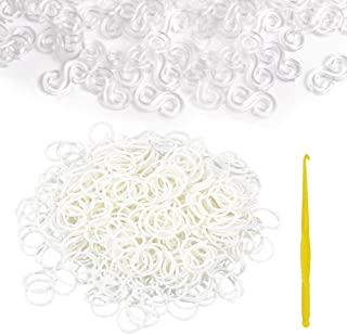 Clear WPOtee 300 Pieces S Clips Plastic Band S Clips Connector Refills for DIY Loom Bracelet Refill Kit