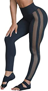 Women's Mesh Insert High Waist Panel Butt Lift Workout Yoga Leggings Tummy Control Capri Pants Athletic Skinny Tights