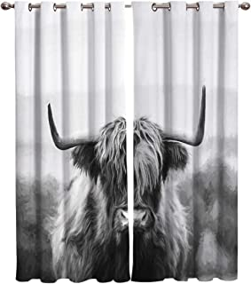 SODIKA Window Curtains with Grommets,Living Room Bedroom Kitchen Window Drapes 2 Panel Set,Grassland Yaks Black and White 2 Panels 52x84 Inch