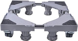 SMONTER 洗濯機 台 昇降可能の洗濯機 置き台、4回転ラバーホイール 8 本の調節可能な強力な足 防止騒音対策 減音効果,グレー