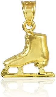Sports Charms 14k Gold Ice Skate Winter Figure Skating Pendant