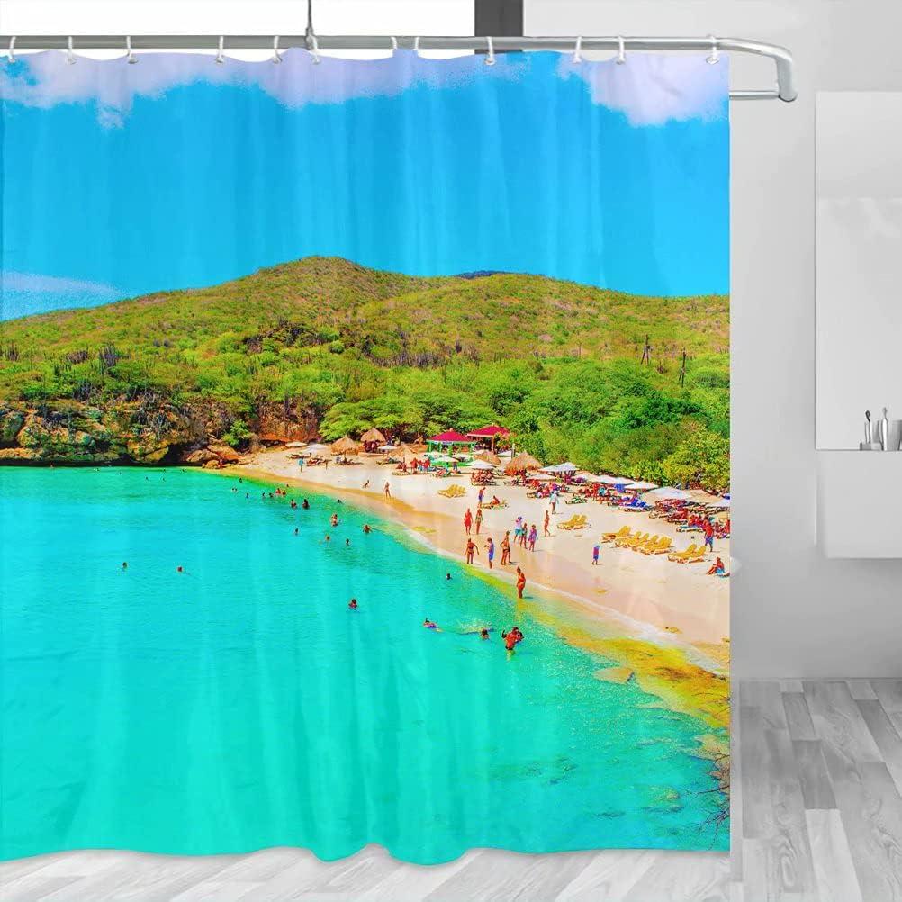Bonaire YL-00738 - Cortina de ducha de viaje con ganchos de poliéster (72 x 72 pulgadas)