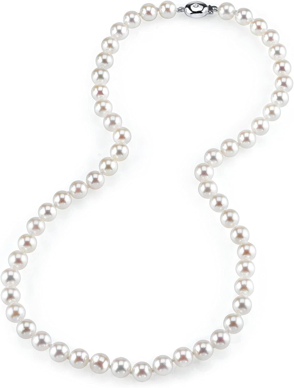 THE PEARL SOURCE 14K Gold 6.5-7.0mm AAA Quality Round Genuine White Japanese Akoya Saltwater Cultured Pearl Necklace in 18
