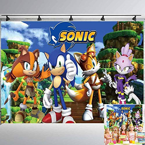 Sonic Backdrop | Boy Birthday | Baby Shower | Boom | Hedgehog | 1st | Party Banner | Photography | Background