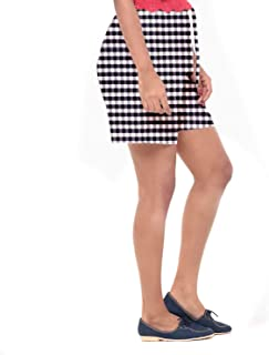 EASY 2 WEAR ® Women Checks Shorts - Loose and Long Fit - (Sizes XS to 4XL) - (Blue/White Checks)