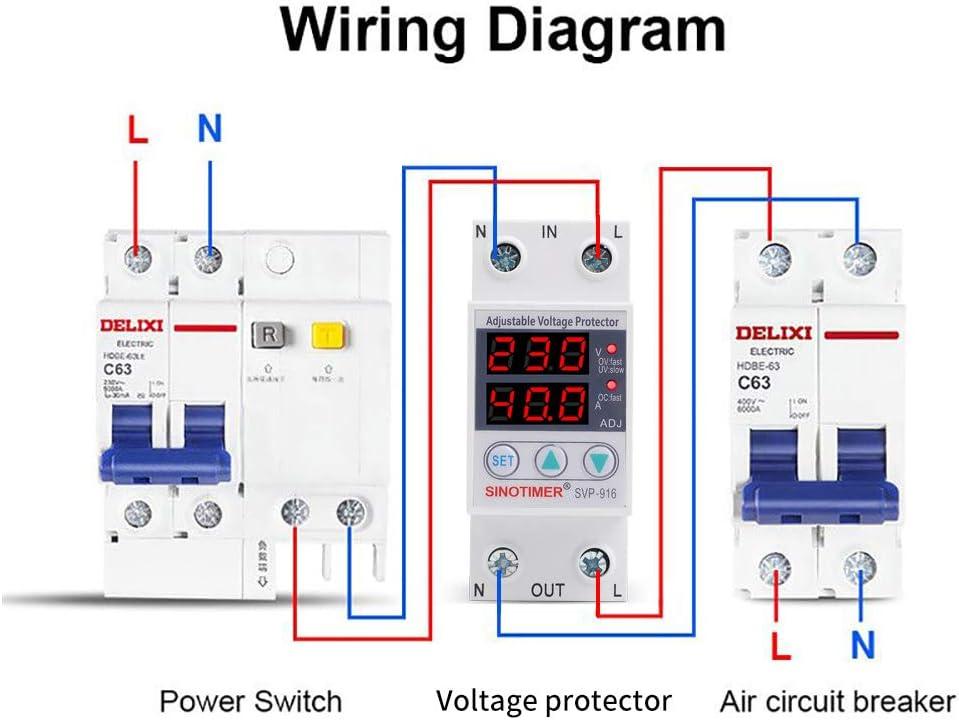 Lanema SVP916 Adjustable Over Under Voltage Protector Relay 220V 40//63//80A Home Usage Dual Display
