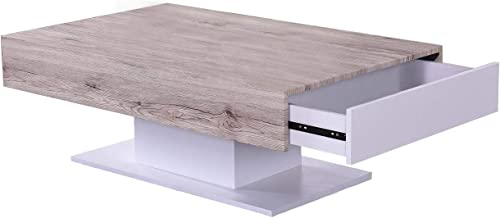 Jiwa Berani Manson Coffee Table, Beige and White - 110H x 70W x 40D cm