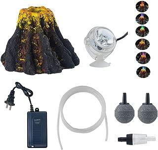 YUXIER Aquarium Decorations Volcano Ornament Kits  7Colour LED Spotlight Aquarium Bubbler Air Stone for Fish Tank Decorations