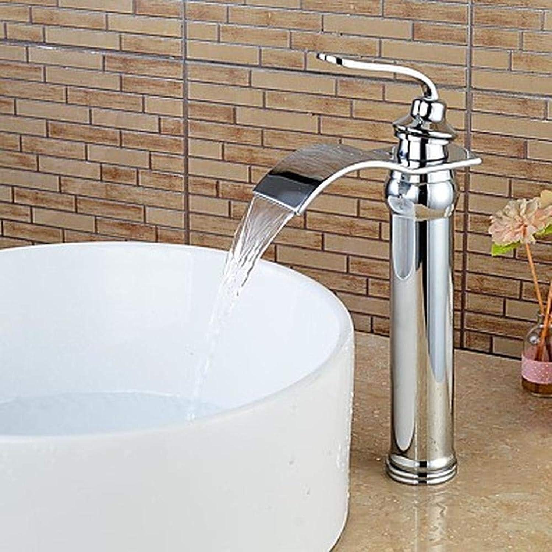 Bathroom Sink Faucet - Waterfall Widespread Chrome Centerset Single Handle One HoleBath Taps Brass