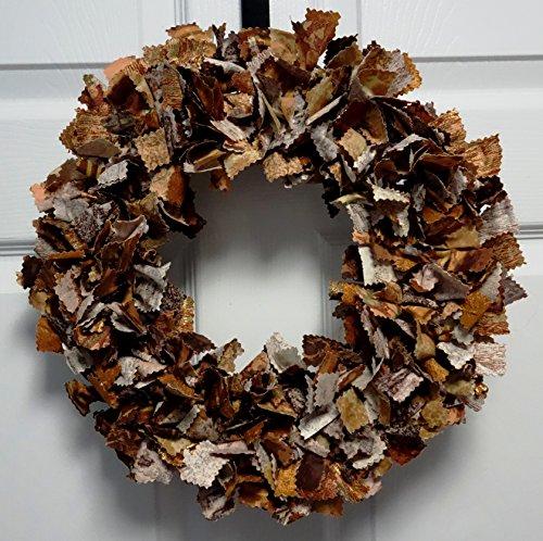 Hand Cut and Tied Fall Themed Fabric Rag Wreath