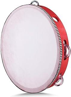 Flexzion Tamburello portatile in legno 8 coppie jingles, Tamburello strumento musicale sonagli per bambini adulti gioco re...
