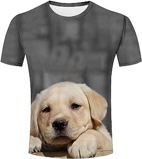 LIYOUYUAN Men T Shirt 3D Printed Funny Puppy Summer Casual T Shirts
