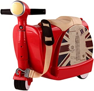 2 in 1 Kids Luggage Ride-On Organizer Waterproof Carry On Travel Bag Toys Storage Box with Traction Rope, UK London Red