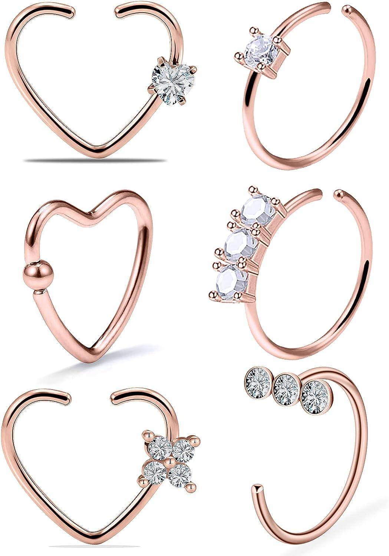 Ocptiy 20G Heart Nose Ring Hoop for Women Stainless Steel Cubic Zirconia Nose Ring Hoop Piercings Jewelry for Women Men 12Pcs