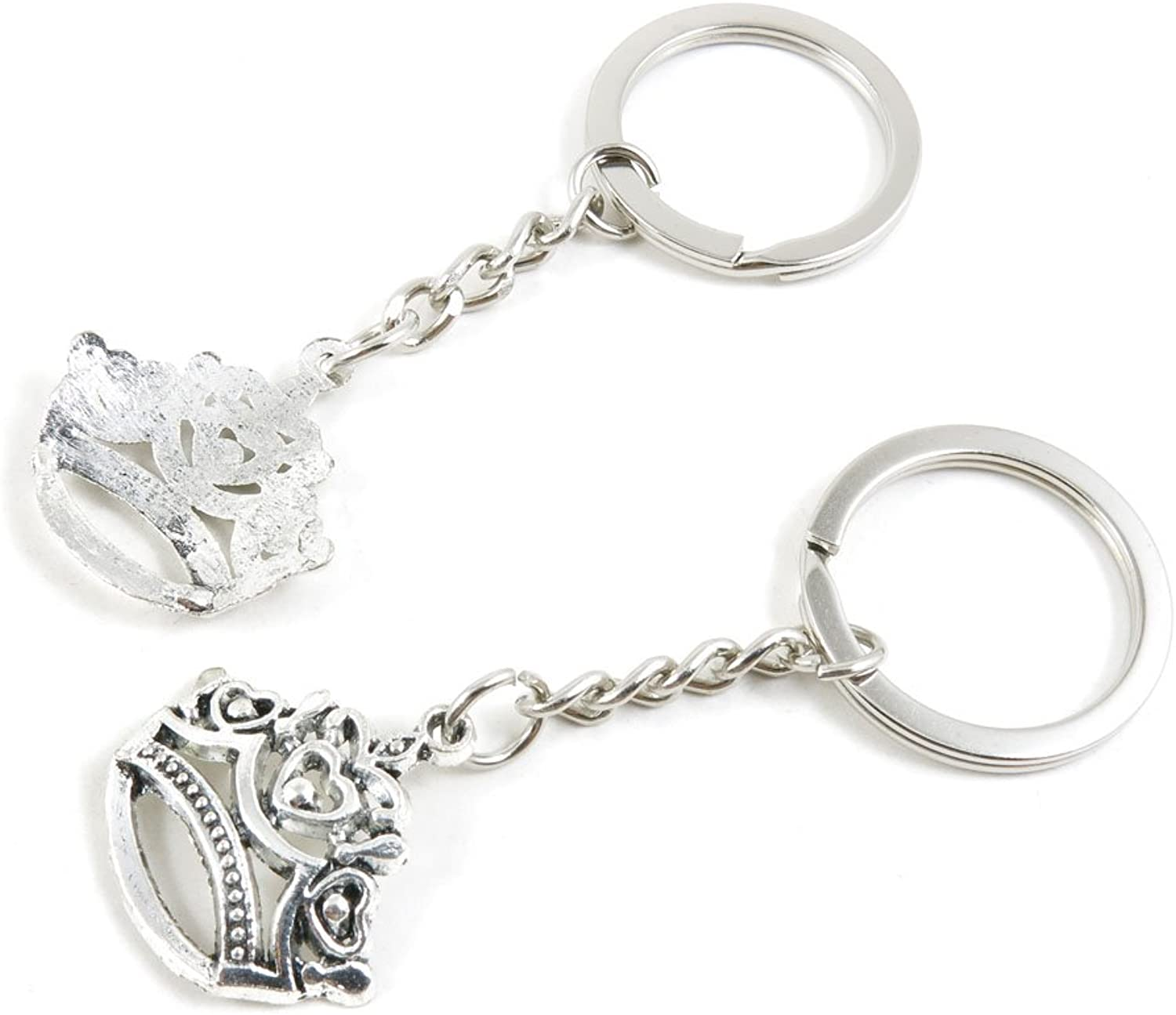100 Pieces Keychain Keyring Door Car Key Chain Ring Tag Charms Bulk Supply Jewelry Making Clasp Findings T5QM2G Crown