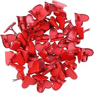 Amosfun 50pcs en Forme de Coeur Brads Mini Brad Pastel Scrapbooking Embellissement Bricolage Papier 11mm (Rouge)