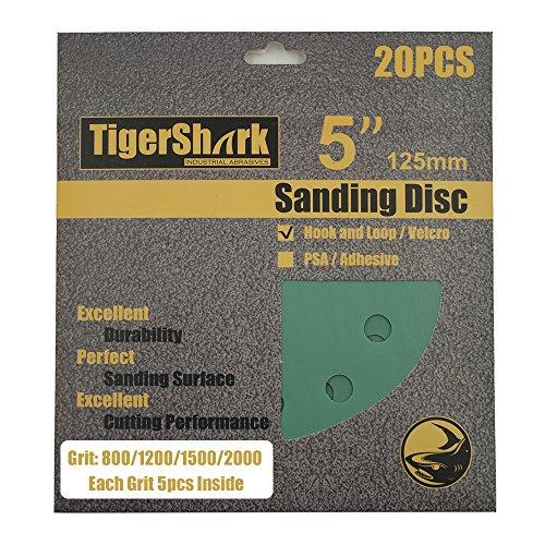 TigerShark 5 Inch Sanding Discs 8 Hole Wet Dry Grit 800/1200/1500/2000 20pcs Pack Film Green Line Hook and Loop Dustless Random Orbital Sander Paper