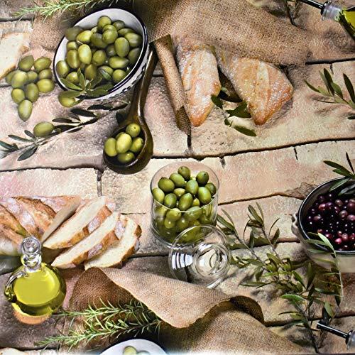 KEVKUS Wachstuch Tischdecke BC70 Oliven Baguette Provence mediterran Küche Garten wählbar in eckig rund oval (Rand: Schnittkante (ohne Einfassung), 140 x 200 cm eckig)