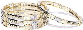 Indian Traditional Style Two Tone Polished Diamontic 4Pcs Bangle Bracelets Set