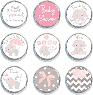 Mini Candy Stickers Gray Elephants Set of 324 Labels Tiny 0.75 Inch (Light Pink)