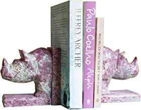 storeindya Book Ends Soapstone CD DVD Stand Rack Shelf Decorative Display Pair Bookend for Bookshelf Holder Home Office School Library Desk Tabletop Organizer Handcrafted (Rhino Shaped)