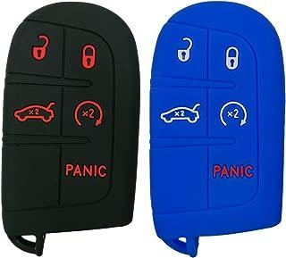 Coolbestda 2Pcs Rubber 5 Buttons Smart Key Fob Cover Case Keyless Jacket Holder for Jeep Grand Cherokee Dodge Challenger Charger Dart Durango Journey Chrysler 300