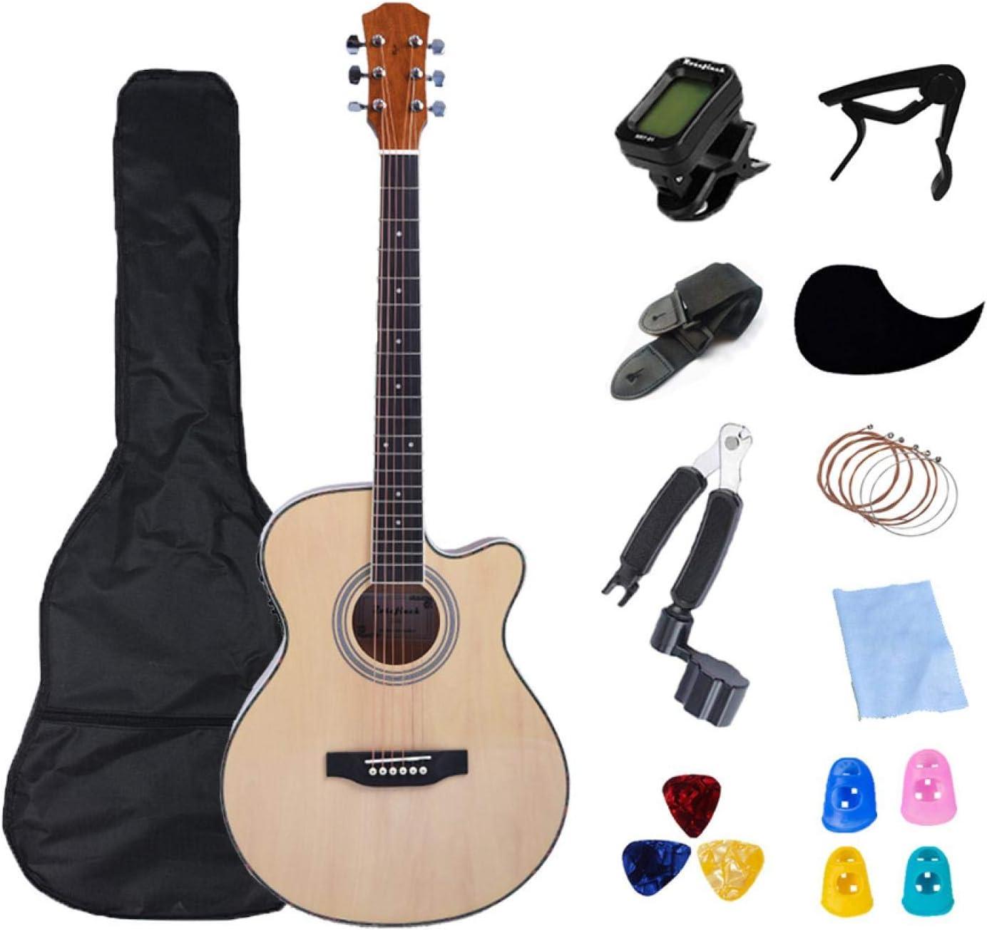 KEPOHK Guitarra eléctrica de 40 pulgadas Guitarra de cuerpo fino acústica Guitarra de 6 cuerdas Profesión Guitarra popular Pop para principiantes Set Regalo 40 pulgadas Madera