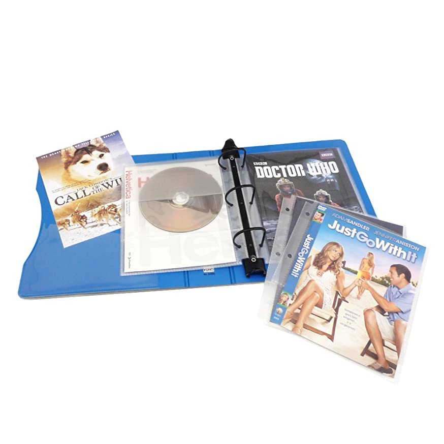 Keepfiling DVD Storage Binder Stores Up to 20 DVDs, CDs, with DVD Cover Art/Title Page (Sapphire Blue)