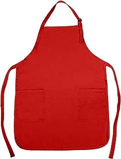 NuFazes Adjustable Bib Apron Spun Poly-Commercial, Restaurant Kitchen 2 Pocket in Red