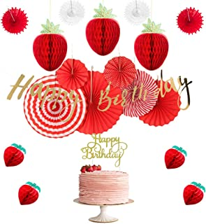 Strawberry First Birthday Party Decoration Paper Strawberry Honeycomb Balls Foil Gold Happy Birthday Banner Red Paper Fans Baby Girl Summer Cake Smash Party Supplies SUNBEAUTY (Red & Gold)