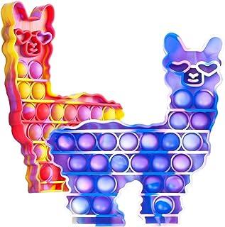 Hoofun POP-Fidget-It-Toys-Llama Silicone Bubble Sensory Alpaca Stress اضطراب بازیابی فشار ناآرام فشار فشار اسباب بازی برای استرس ، Fidgety و اوتیسم ، ASD ، Autistic ، ADHD Fidget 2 بسته برای دختران