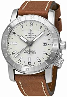 Glycine Airman Automatic Silver Dial Brown Leather MensWatch GL0067