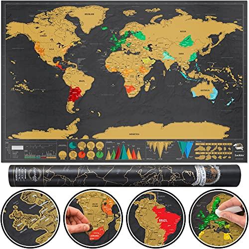 Luckies of London - Scratch Map Deluxe Edition - Mappa del mondo da grattare, poster mappamondo dettagliato con capitali, stati, città