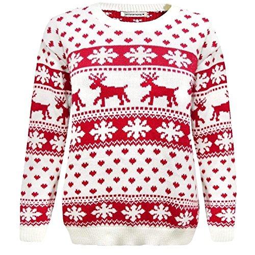Janisramone Ragazze Ragazzi Nuovo Bambini Natale Reindeer Fiocco di Neve Fairisle a Maglia Jumper Maglione Top