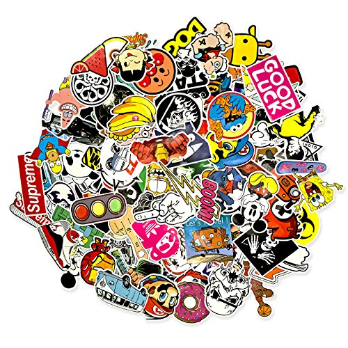 100 Aufkleber/Sticker - Retro-, Graffiti- Style, Reisen, Marken für Skateboard, Snowboard, Koffer, Notebook, Auto, Fahrrad & UVM. - Auto-Dress® (Set-5)