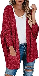 Saodimallsu Women's Chunky Popcorn Cardigan Oversized Open Front Boyfriend Batwing Long Sleeve Fuzzy Knit Sweaters