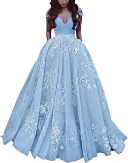 Elegant Lace Long Satin Prom Dress Off The Shoulder Gowns With Pockets