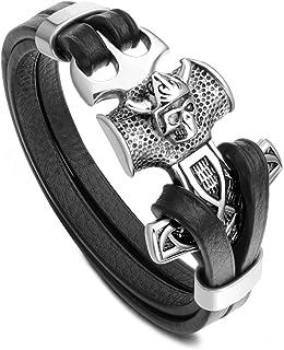PiercingJak Mjölnir - Bracciale da uomo con martello di Thor, in vera pelle, stile punk con teschio, nodo celtico, gioiell...