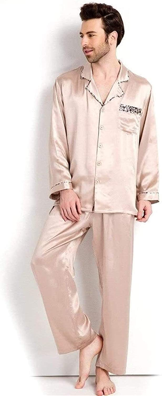 Fashion Pajamas Men's Pajamas Sets Spring and Summer Long-Sleeved Silk Sleepwear Pure Color Button Homewear Nightwear (Color : Brown, Size : X-Large)
