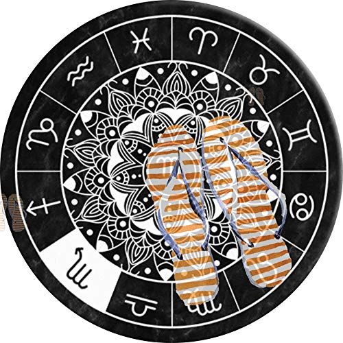 PEIGJH Alfombra De área Redonda Moderno Antideslizante Sala De Estar Dormitorio Baño Cocina Suave Alfombra Alfombra, 60cm, Escorpio Signo del Zodiaco Astrología Mandala Rueda