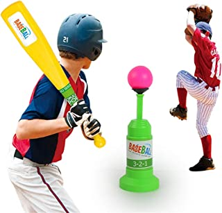 ADPTT Kids Baseball Set Toys, Training Automatic Launcher Baseball Bat Toys - Indoor Outdoor Sports Baseball Games T-Ball Set for Children for Kids Over 3 Years Old