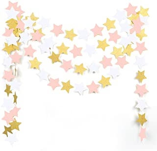 MOWO Paper Garland Twinkle Star Pink Gold Glitter and White 3'' Circle Decoration 2pc 20 feet in Total