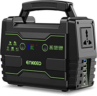 ENKEEO Portable Power Station 155Wh Power Supply Solar Generator with 240V AC Socket, 2 DC Ports, QC3.0 USB Ports, Supports Solar Panels, Electric Generator for Camping Travel Home Emergency