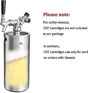 Pressurized Beer Mini Keg System 128oz Stainless Steel Growler Tap Easy Storage Under Pressure-Homebrew Growler Beer Dispenser Keeps Carbonation for Craft Beer Draft and Homebrew