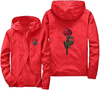 Mens Thin Embroidery Rose Casual Sports Zipper Solid Color Coat Hoodie Jacket