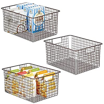 mDesign Metal Wire Food Organizer Storage Bins with Handles - 3 Pack by
