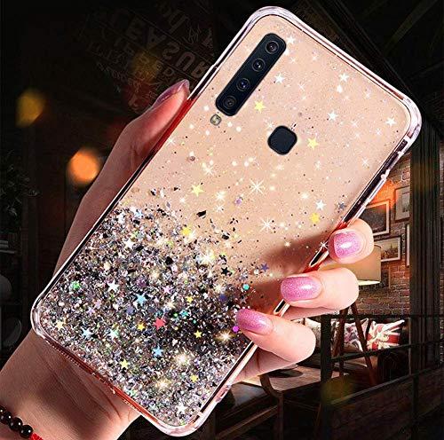 Uposao Kompatibel mit Samsung Galaxy A9 2018 Hülle Glänzend Glitzer Strass Diamant Sterne Transparent TPU Silikon Handyhülle Weiche Dünn Durchsichtig Schutzhülle Tasche Crystal Case,Silber